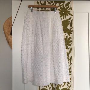 J. Crew white cotton midi-skirt